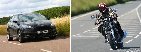 Images of a car and a bike indicating that the IAM Road Smart is for both motorists and bikers